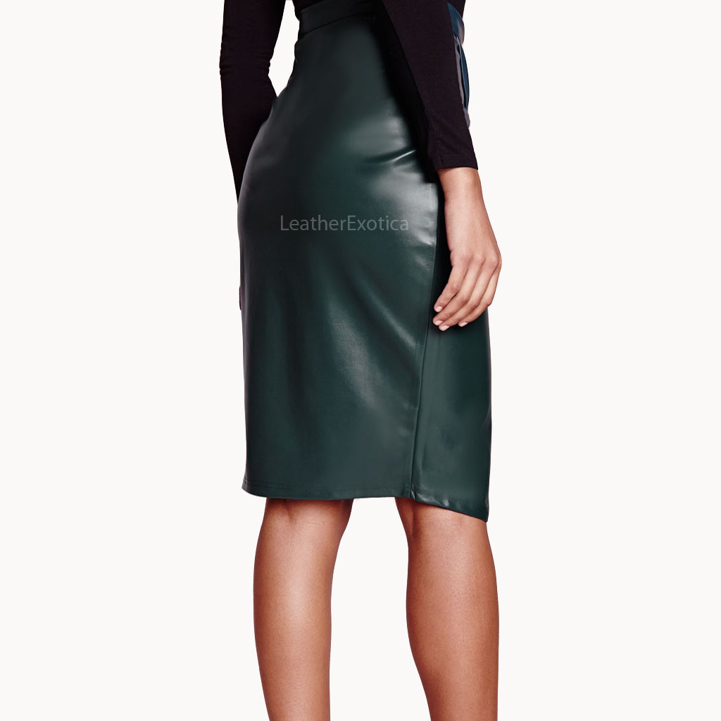 high waisted wrap leather skirt