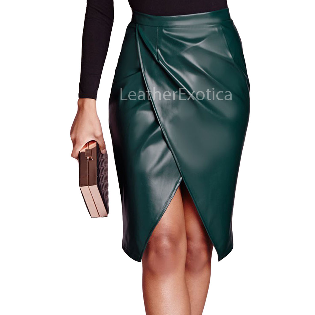 High Waisted Wrap Women Leather Skirt