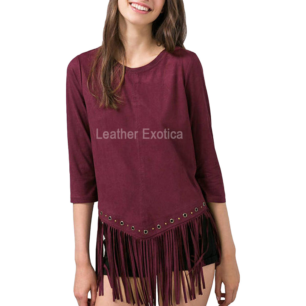 Fringe Hem Women Suede Leather Top Leatherexotica