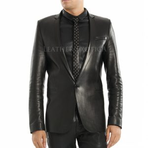 Men Double Breasted Leather Blazer