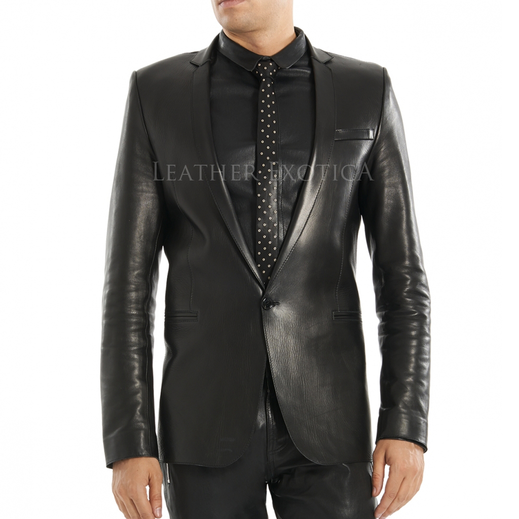 Men Classic One Buttoned Leather Blazer For Men