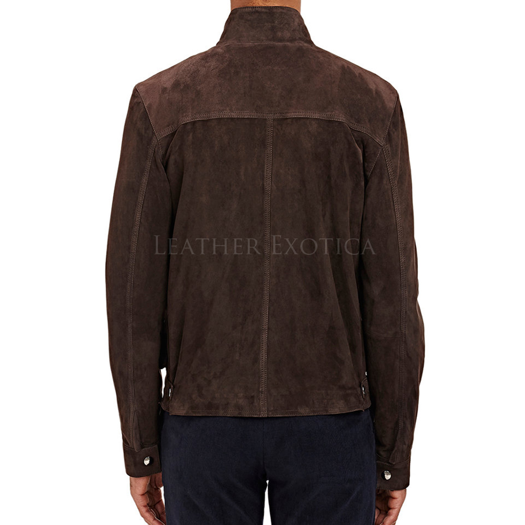 Simple Style Suede Leather Bomber Jacket