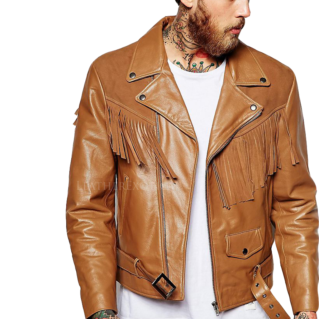 Suede Fringe Detailing Motorcycle Jacket For Men