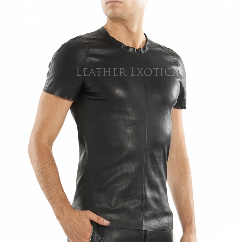Lamb leather t shirt for men for Red leather shirt for womens