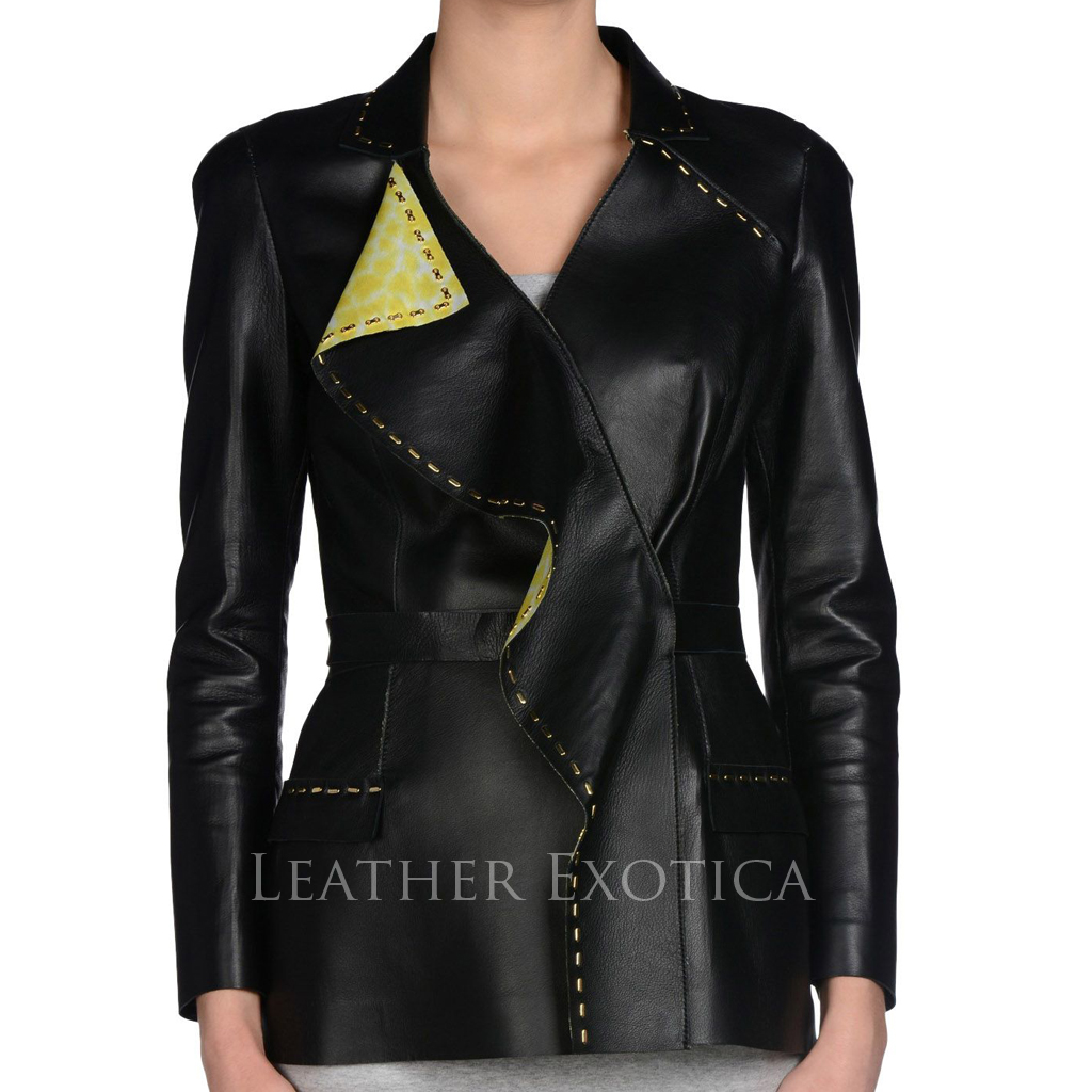 Designer Style Leather Blazer For Women Leatherexotica