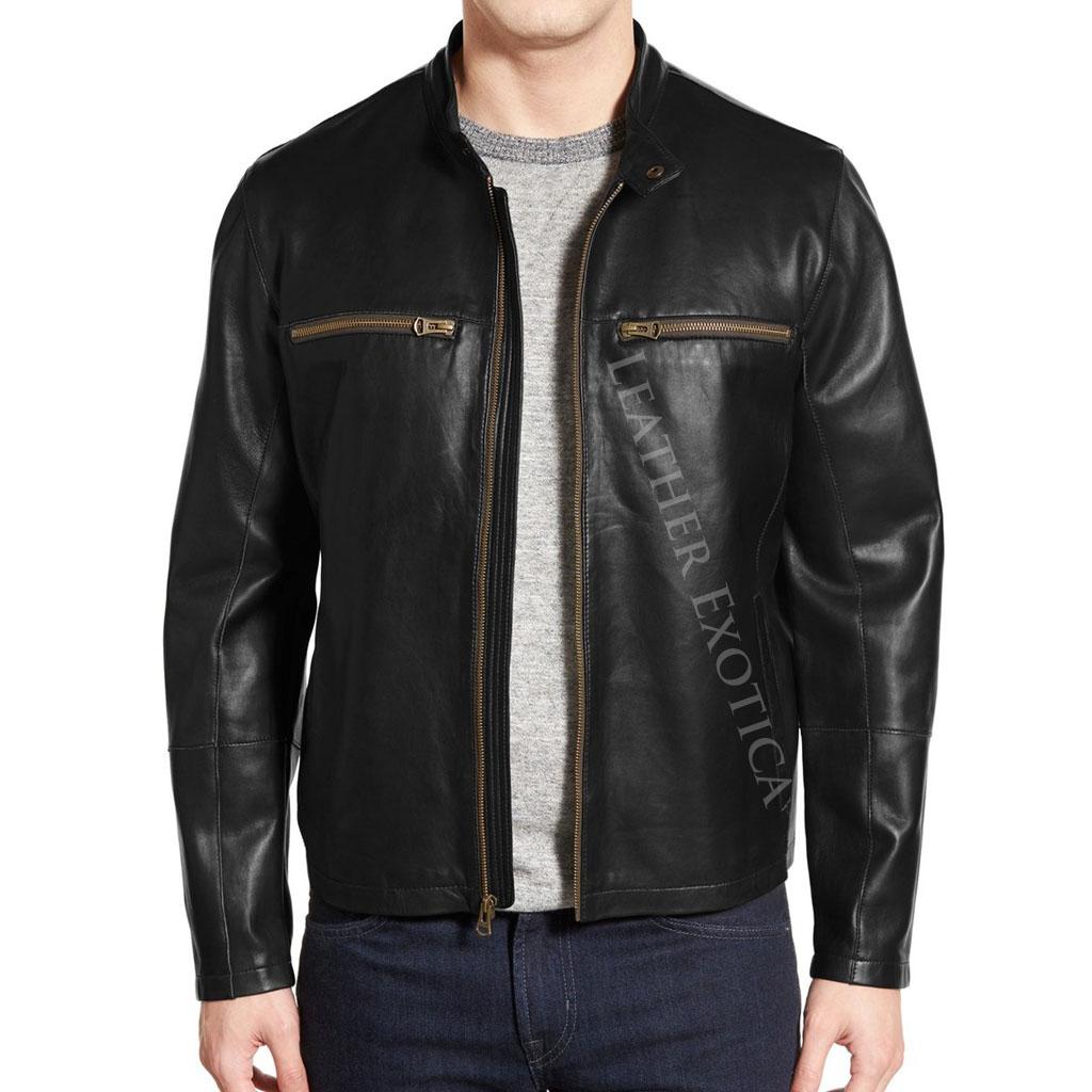 Men Classy Lambskin Leather Moto Jackets Leatherexotica