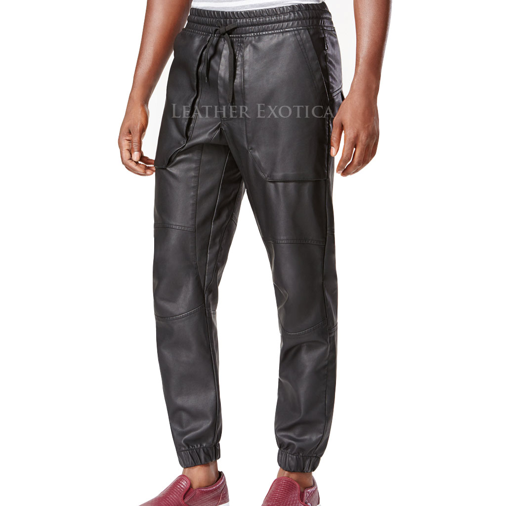 pants leather jogger leatherexotica
