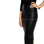 Side Stitch Detailing Stylish Leather Skirt