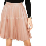 Knife Pleats High Waist Leather Skirt