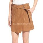 Suede Wrap Miniskirt For Women