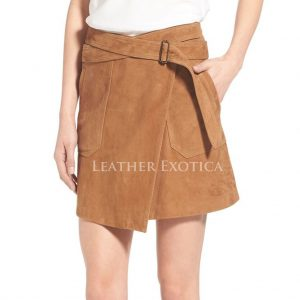 calf length classical leather skirt for