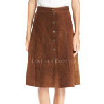 Corporate Look Elegant Suede Leather Skirt