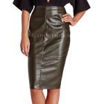 Leather Seam Detail Mini Pencil Skirt