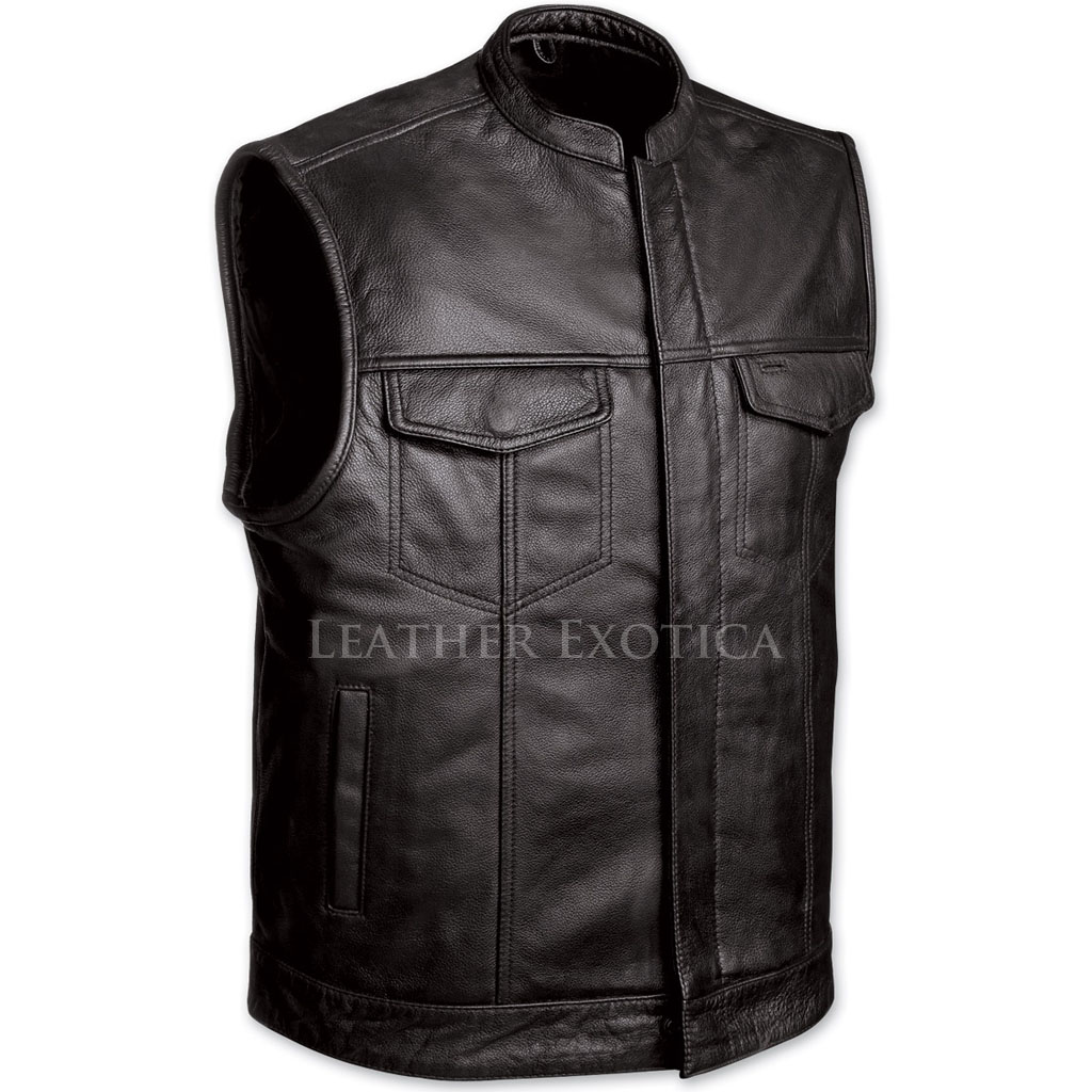 Motorcycle Black Leather Vest