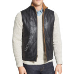 Classic Fit Leather Vest For Men