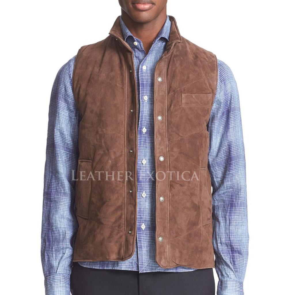 Suede Leather Men Vest