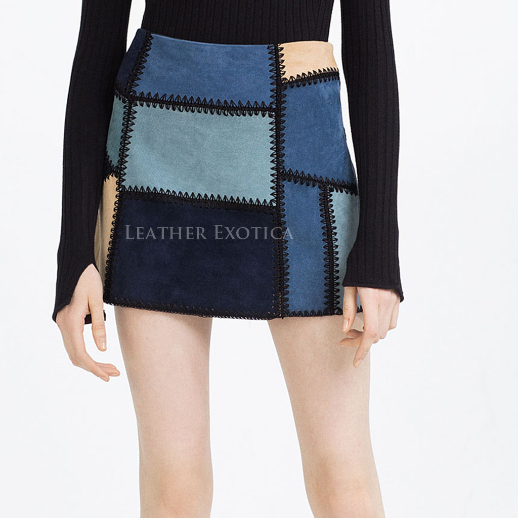 Patchwork Mini Suede Leather Skirt For Women