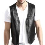 Men Zip Front Lambskin Leather Vest