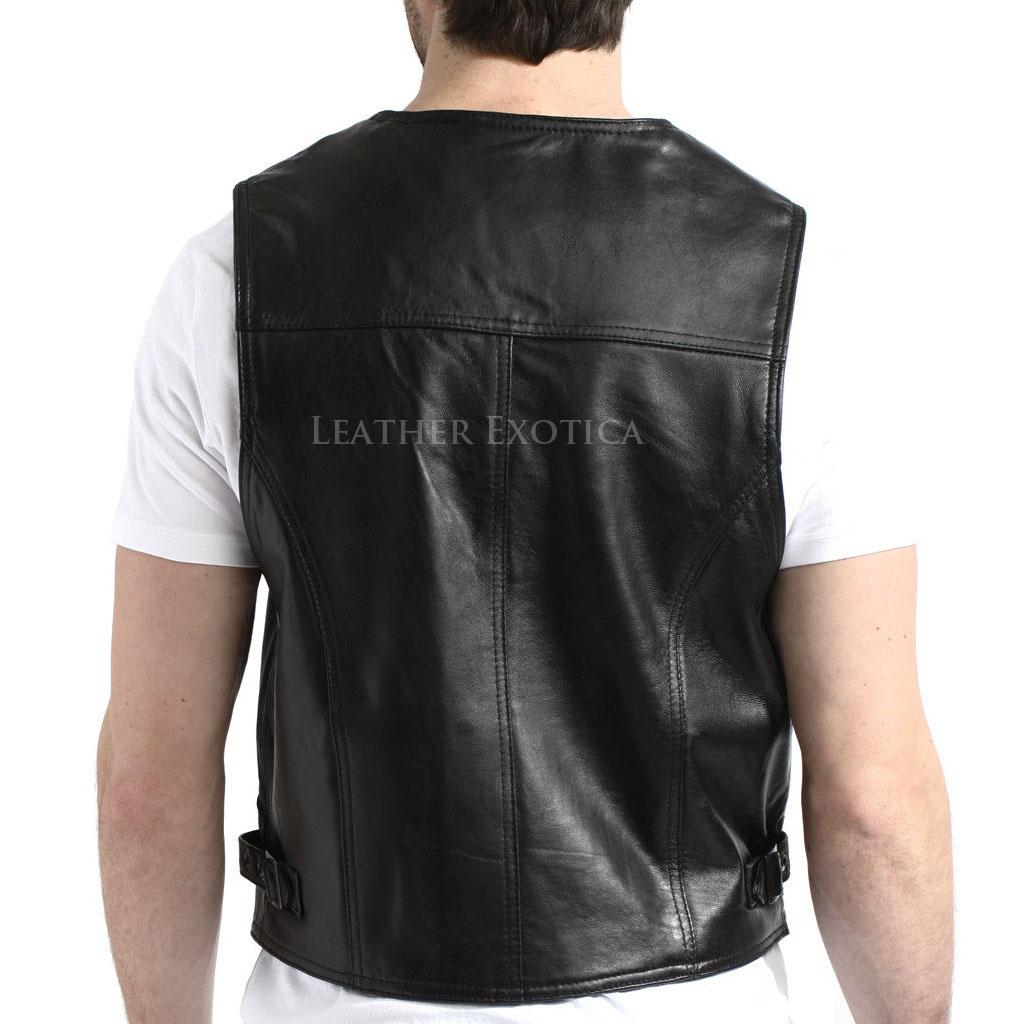 Men Zip Front Lambskin Leather Vest Leatherexotica