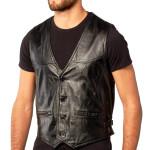 Men Black Button Lambskin Leather Vest