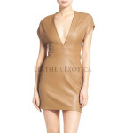 Women Leather Body-Con Leather Dress