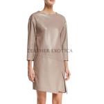 Three-quarter sleeves Sheath Leather Dress