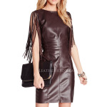 Fringe Style Sleeves Leather Dress For Womens