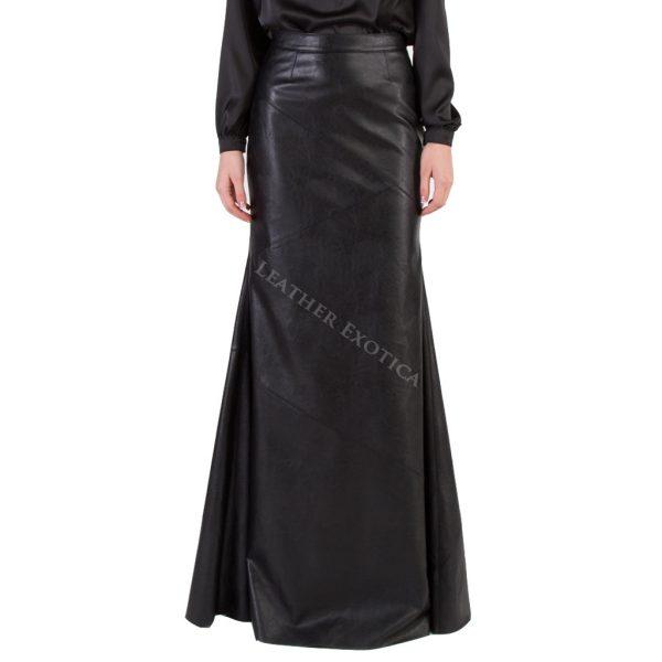 High Waist Long Leather Skirt For Women
