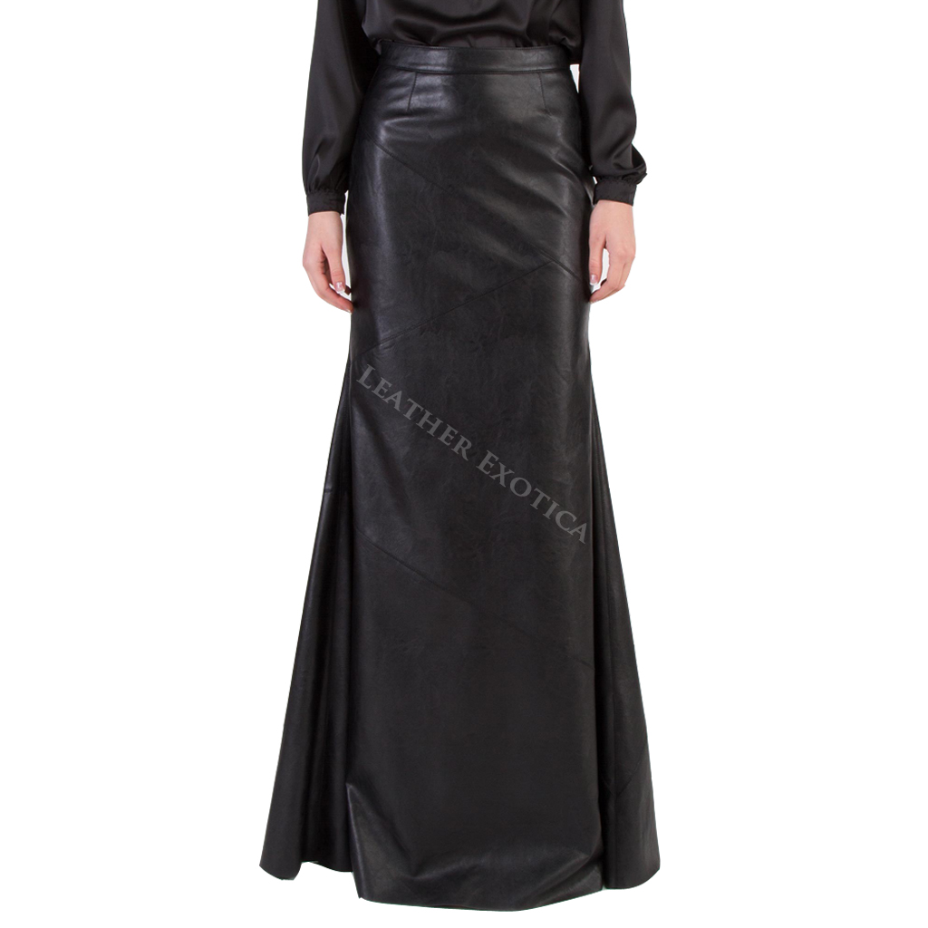 High Waist Long Leather Skirt For Women Leatherexotica