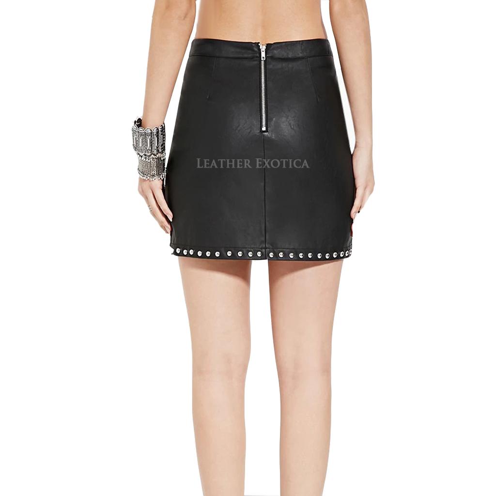 Studded Mini Leather Skirt For Women