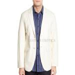 White Two Button Style Men Leather Blazer