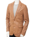 Classic Style Single Breasted Leather Blazer