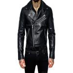 Trendy Cropped Leather Men Biker Jacket