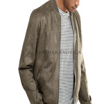 Cool Style Suede Leather Bomber Jacket
