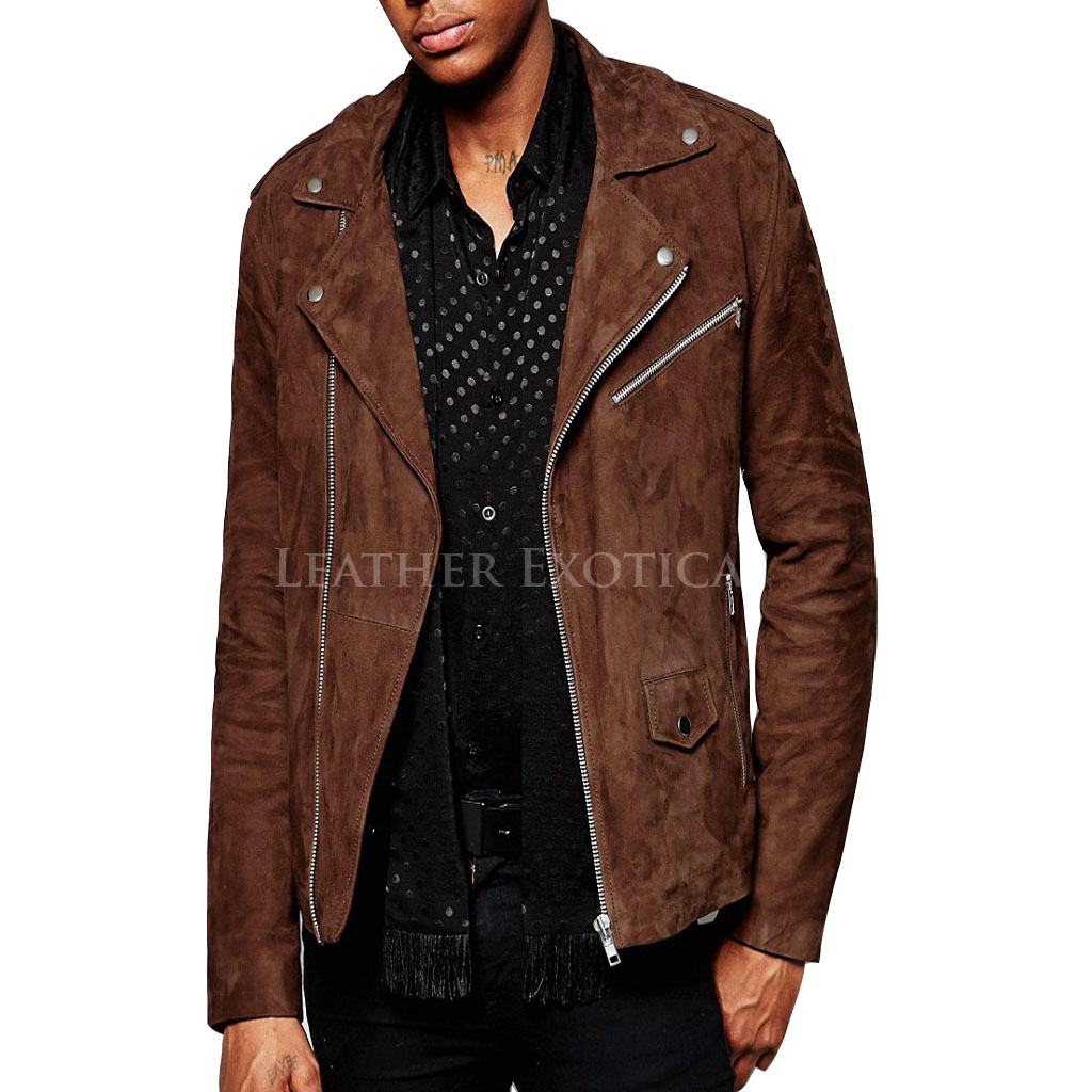 Suede Asymmetric Biker Jacket For Men Leatherexotica