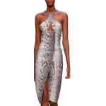 Keyhole Style Embossed Snake print Leather Dress