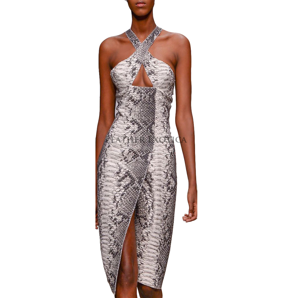 Keyhole Style Embossed Snake Print Leather Dress