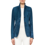 Two Button Elegant Suede Leather Blazer for Women