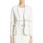 White Leather Blazer For Women
