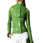 Leather Pattern Women Chiffon Cropped Jacket