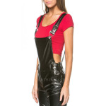Sexy Straps Style Women Leather Jumpsuit