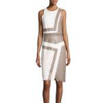 Color Block Sleeveless Sheath Leather Dress