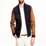 Color Block Sued Leather Bomber Jacket