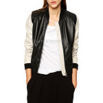 Colorblock Bomber Leather Jacket For Women