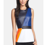 Colorblock Bright Angular Leather Panels Top
