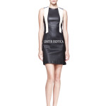 Colorblock Shift Leather Dress