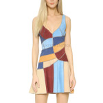 Color Blocks Collection Sleeveless Suede Dress