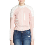 Color Block Tab collar Leather Jacket