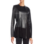 Color Block Collection Lamb And Suede Leather Jacket