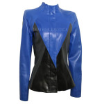 Color Block Collection Geometric Leather Jacket